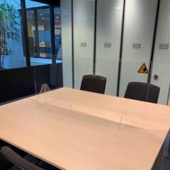 Conferentiescherm Jalema 140x60cm met doorgeefluik 25x8cm