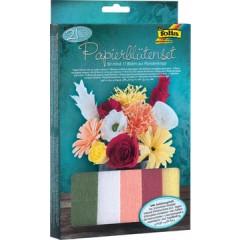 Folia knutselset crêpe papier bloemen (21 delig)
