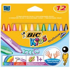 Waskrijt Bic kids plastidecor triangle assorti (12)