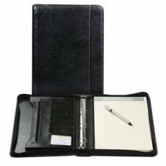 Schrijfmap Brepols palermo 4-ringen 25,5x34,7cm zwart