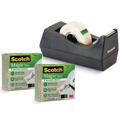Plakbandafroller Scotch C38 gerecycleerd zwart inclusief 3 rollen