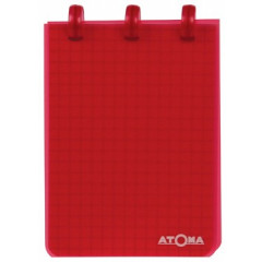 Schrijfblok Atoma PP 7,4x10,5cm geruit 120blz transparant assorti