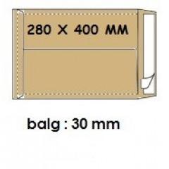 Zakomslag met balg 280X400X40 bruin + strip (250)
