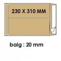 Zakomslag met balg 230X310X20 bruin + strip (250)