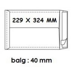 Zakomslag met balg 229X324X40 wit + strip (250)