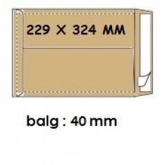 Zakomslag met balg 229x324x40 bruin + strip (250)