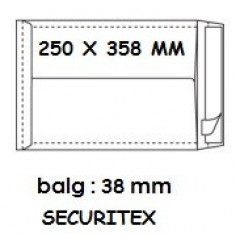 Zakomslag met balg 250x358x38 wit + strip securitex (100)