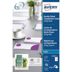 Complimentenkaart Avery 3/blad 210x99mm 260g voor inkjet (25)