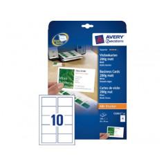 Visitekaart Avery 10 kaarten/bl 85x54mm 200g mat (25)