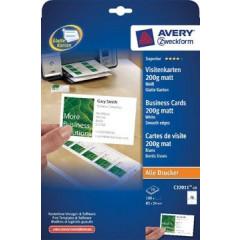 Visitekaart Avery 10 kaarten/bl 85x54mm 200g mat (10)