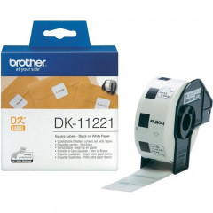 Label Brother DK-11221 23x23mm papier zwart op wit (1.000)