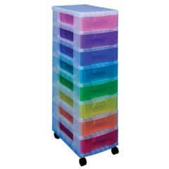 Ladenkast Really Useful Box met 8 opbergdozen van 7l transparant assorti