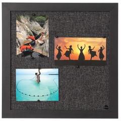 Textielbord Bisilque 45x45cm zwart frame donkergrijs