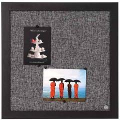 Textielbord Bisilque 45x45cm zwart frame lichtgrijs