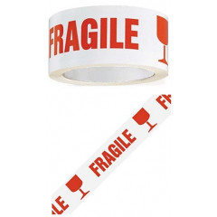 Tape PP 48mm x 100m wit met tekst breekbaar - fragile
