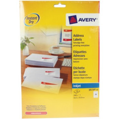 Etiket Avery Address 24 etik/bl 63,5x33,9mm voor inkjet wit (10)