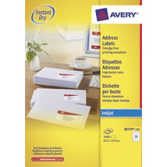 Etiket Avery Address 24 etik/bl 63,5x33,9mm voor inkjet wit (100)