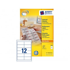 Etiket Avery Address 21 etik/bl 63,5x38,1mm voor inkjet wit (25)