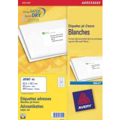 Etiket Avery Address 21 etik/bl 63,5x38,1mm voor inkjet wit (40)