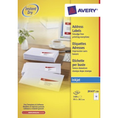 Etiket Avery Address 14 etik/bl 99,1x38,1mm voor inkjet wit (100)