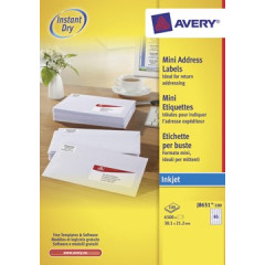 Etiket Avery Address 65 etik/bl 38,1x21,2mm voor inkjet wit (100)
