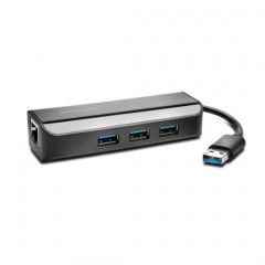 USB-hub Kensington USB 3.0 3 poorten met Ethernet LAN-adapter