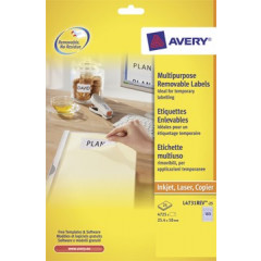 Etiket Avery Removable 189 etik/bl 25,4x10mm wit (25)