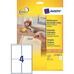 Etiket Avery Removable 04 etik/bl 99,1x139mm voor inkjet, copier en laser wit (25)