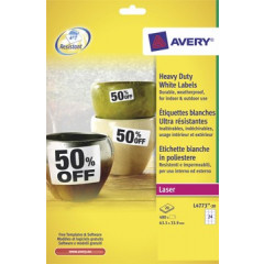 Etiket Avery Heavy Duty 24 etik/bl 63,5x33,9mm voor laser wit (20)