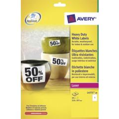 Etiket Avery Heavy Duty 01 etik/bl 210x297mm voor laser wit (20)