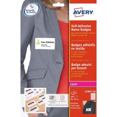 Etiket Avery Textiel 10 etik/bl 80x50mm voor laser wit met rood kader (20)