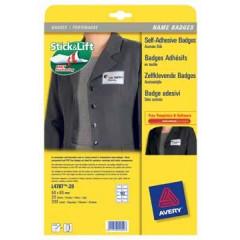 Etiket Avery Textiel 10 etik/bl 80x50mm voor laser wit met blauw kader (20)