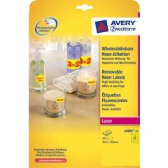 Etiket Avery Removable 27 etik/bl 63,5x29,6mm voor laser fluo geel (25)