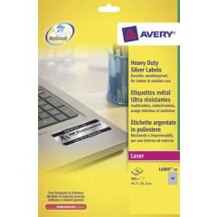 Etiket Avery Heavy Duty 48 etik/bl 45,7x21,2mm voor laser zilver (20)