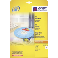 Etiket Avery CD 02 etik/bl Ø117mm wit (25)