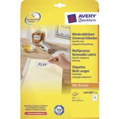 Etiket Avery Removable 21 etik/bl 63,5x38,1mm wit (25)