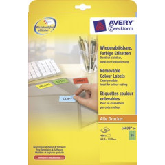 Etiket Avery Removable 24 etik/bl 63,5x33,9mm groen (20)