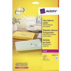 Etiket Avery Address 65 etik/bl 38,1x21,2mm voor laser transparant (25)