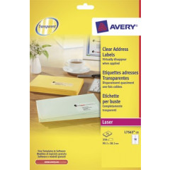 Etiket Avery Address 14 etik/bl 99,1x38,1mm voor laser transparant (25)