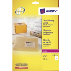 Etiket Avery Shipping 01 etik/bl 210x297mm voor laser transparant (25)