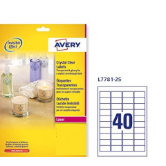 Etiket Avery Clear 40 etik/bl 45,7x25,4mm voor laser transparant (25)
