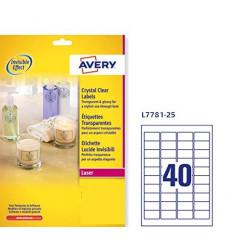 Etiket Avery Clear 40 etik/bl 45,7x25,4mm voor laser transparant (25)