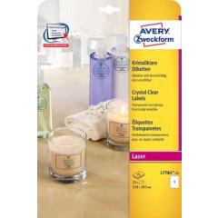 Etiket Avery Clear 01 etik/bl 210x297mm voor laser transparant (25)