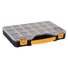 Gereedschapskoffer Perel 18-vaks zwart/geel