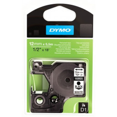 Dymo D1 perm. tape 12mm zwart/wit (16959)