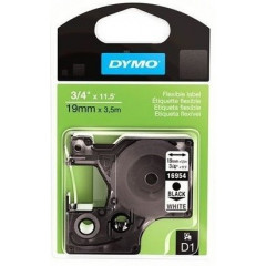 Dymo D1 perm. tape 19mm zwart/wit (16960)