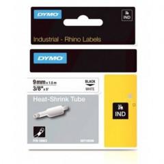 Dymo rhino tape 9mm zwart/ wit krimpkous (18053)