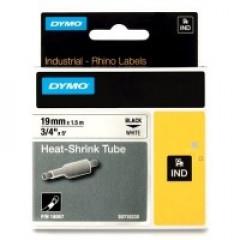 Dymo rhino tape 19mm zwart/wit krimpkous (18057)
