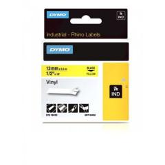 Dymo rhino tape 12mm zwart/geel vinyl (18432)