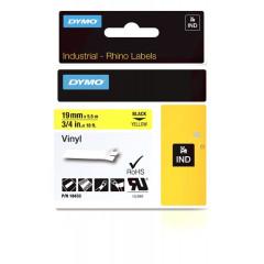 Dymo rhino tape 19mm zwart/geel vinyl (18433)